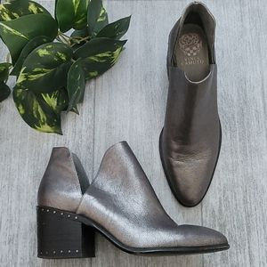 Vince Camuto gray Petran leather heeled booties